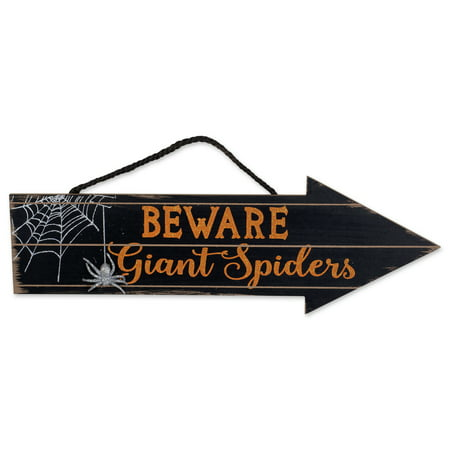DII Indoor and Outdoor Wood Fall Halloween Hanging Door Decorations and Wall Signs, Haunted House Decor, For Home, School, Office, Party Decorations - Beware Of Spiders - Halloween Party Sign Ideas