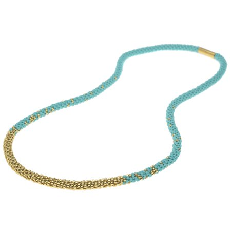 Long Beaded Kumihimo Necklace - Teal & Gold - Exclusive Jewelry (Exclusive Jewelry)