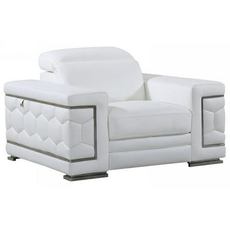 Calligaris Italian Furniture - Global Furniture 692 Contemporary White Genuine Italian Leather Armchair