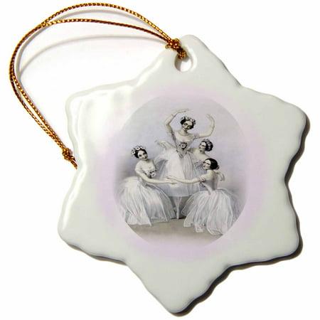 Graceful Porcelain - 3dRose Photo Of 4 Graceful Vintage Ballerinas, Snowflake Ornament, Porcelain, 3-inch