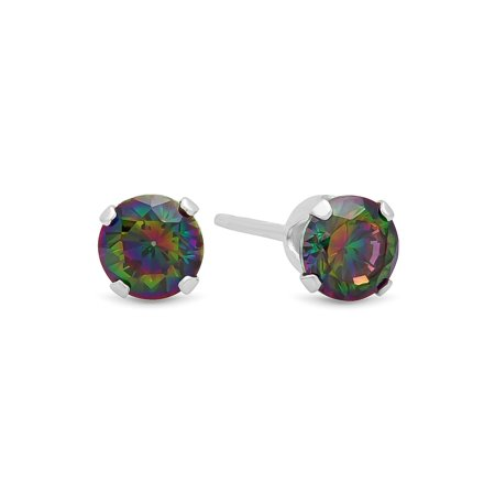 Brilliant Cut Simulated Rainbow Topaz CZ Sterling Silver Stud Earrings