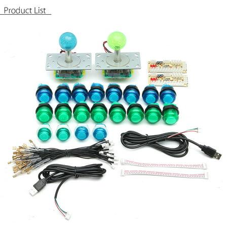 20 DIY LED Arcade Push Buttons + 2 Joysticks + 2 USB Controller Encoder Kit Part ()