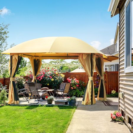 Quictent 12x12 Metal Gazebo Canopy with Mosquito Netting Sides Screened Gazebo Pergola Soft Top for Deck, Patio and Backyard Waterproof- (Tan) ()