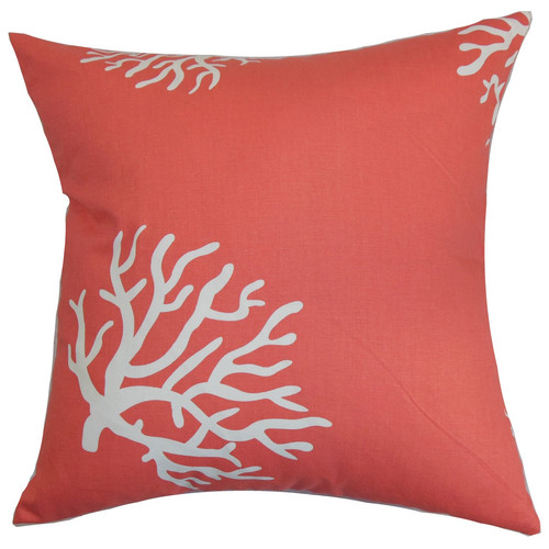 The Pillow Collection Jessamine Coral Cotton Throw Pillow Cover