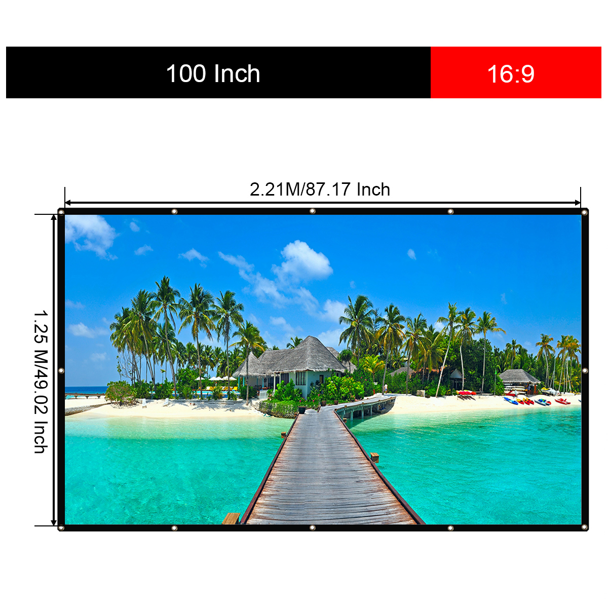 """Excelvan 100 Inch 16:9 Collapsible White Portable Projector Cloth Screen 2.21M*1.25M ( 87"""" x 73.6"""" ) With Hanging Hole For Home And Outdoor Use"""