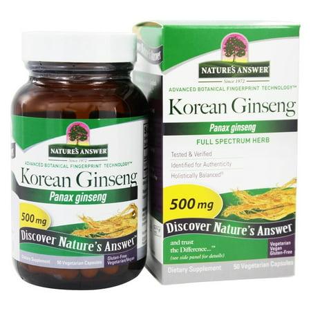 Nature's Answer - ginseng coréen Racine simple supplément d'herbe - 50 Vegetarian Capsules