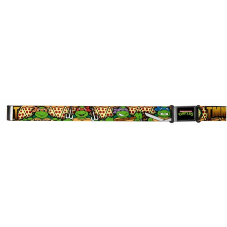 TMNT Cartoon TV Series Turtle Faces Pizza Slices Magnetic Web Belt