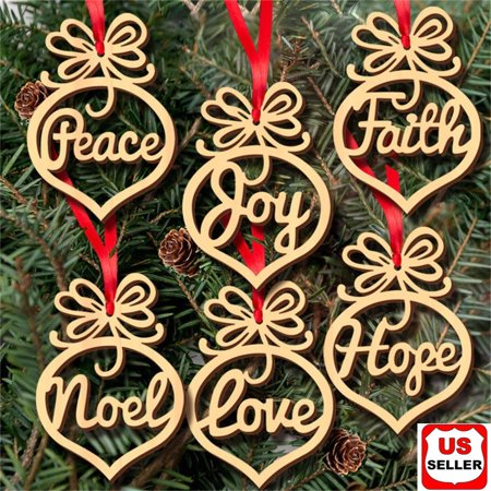 6 Pcs Christmas Decorations Wooden Ornament Xmas Tree Hanging Pendant Ornament ()