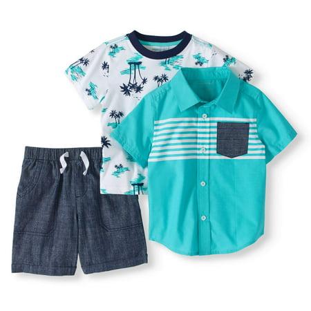 (Toddler Boy Short Sleeve Woven Button-up Shirt, T-shirt & Shorts, 3pc Outfit Set)