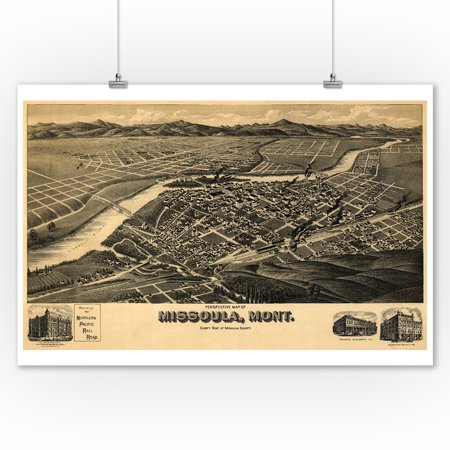 Missoula, MT Panoramic Map - 1891 (9x12 Art Print, Wall Decor Travel Poster) Missoula 1 Light