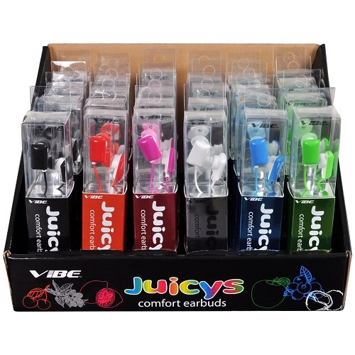 Vibe 24-Pack Juicys Comfort Earbud Stereo Headphones Six Colors with Display Box