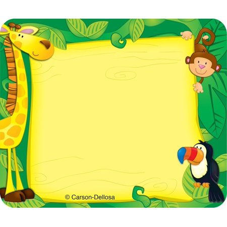 Carson Dellosa Jungle Name Tags (150002), 40 self-adhesive name tags per pack By Carson-Dellosa It comes to you in New and Fresh state These convenient, self-adhesive name tags are ideal for labeling, reminders, calendar and homework notes, and more! Each pack features 40 name tags, measuring 3  x 2.5 . Available in a variety of prints, name tags are fun addition to any classroom! What you see is what you will get