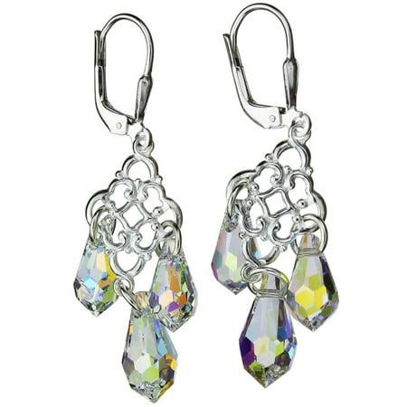 Sterling Floral Earrings - Sterling Silver Floral Link Leverback Earrings Aurora Borealis Teardrop Made with Swarovski Crystals