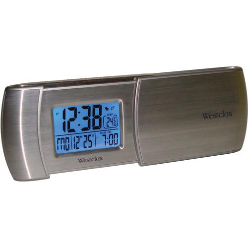 Westclox Tech Lcd Ultra Thin Travel Alarm Clock, Silver