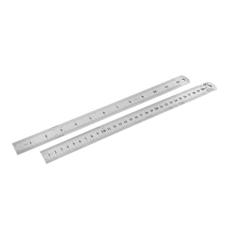 2pcs Dual Side Stainless Steel Straight Edge Ruler Measuring Tool 300mm 12 (Straight Sided Stainless Steel)