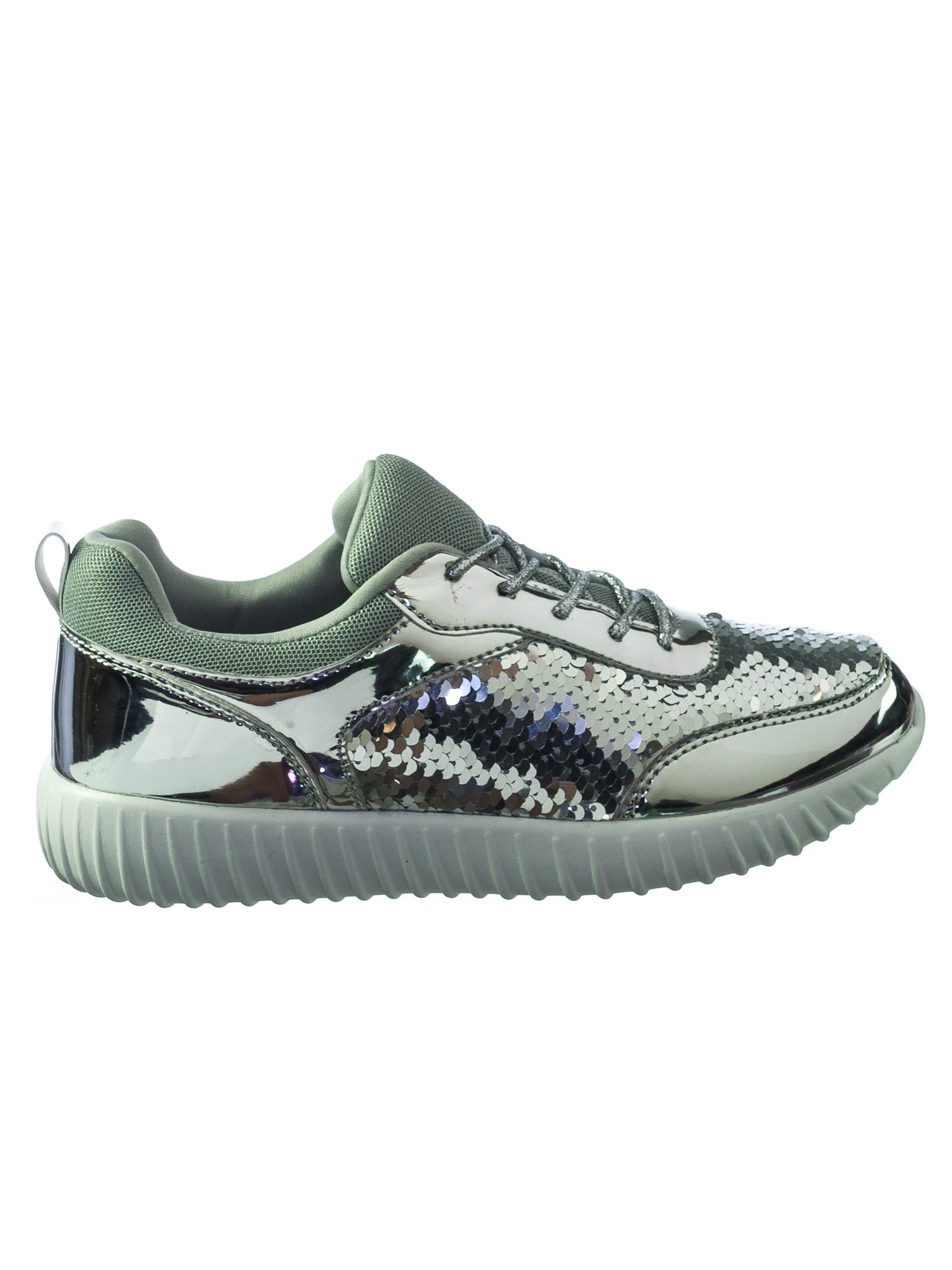 d0d566b3acc6 Forever Link - Remy28 by Forever Link, Mermaid Metallic Sequins Glitter  Lace Up Sneaker w White Outsole - Walmart.com