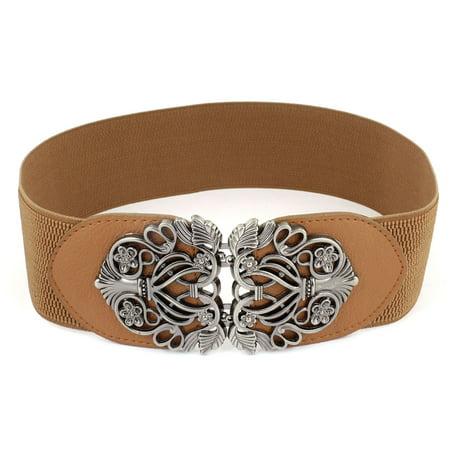 Knot Woven Metal Interlocking Buckle Textured Elastic Stretchy Cinch Waistband Waist - Brown Womens Belt