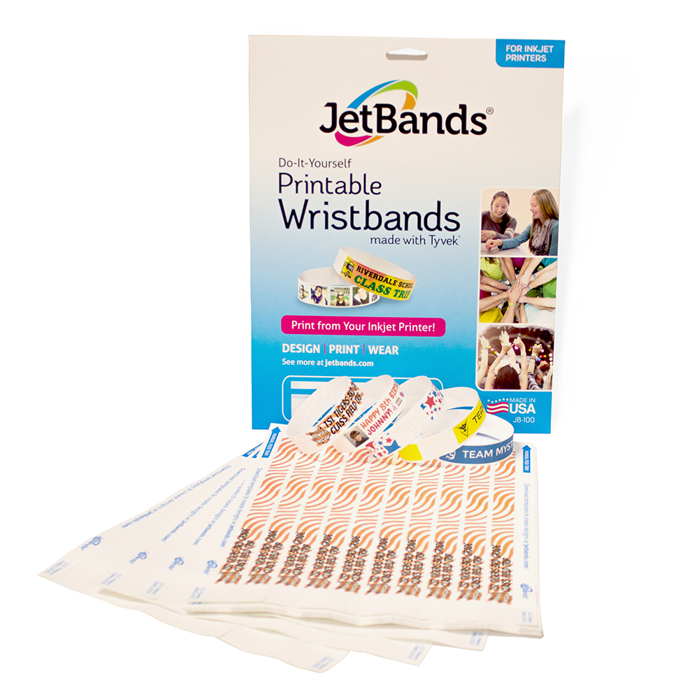 graphic regarding Printable Wristband Sheets identified as JetBands Do-it-yourself Inkjet Printable Tyvek Wristbands - 100 Rely