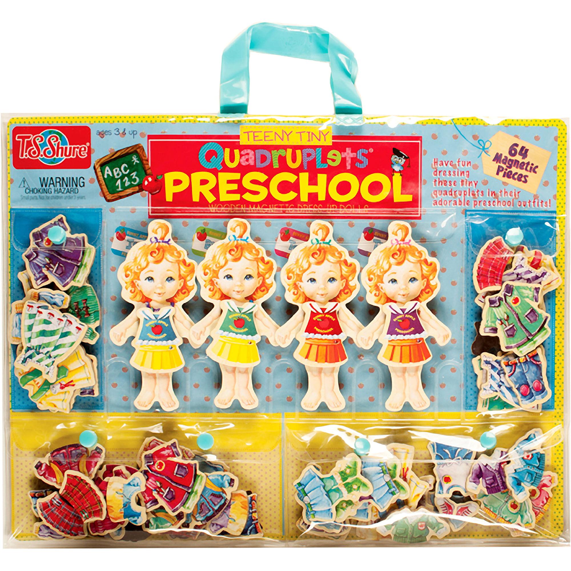 T.S. Shure Teeny Tiny Quadruplets Preschool Wooden Magnetic Dress-Up Dolls by TS Shure