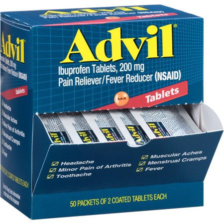 Advil Ibuprofen Coated Tablets 200 mg, 50 2 Pks Pain Reliever/Fever - Advil 200 Mg Tablets