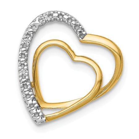 Roy Rose Jewelry 14K Yellow Gold .01-Carat Diamond Accent Double Heart Slide Pendant 14k Gold Heart Key