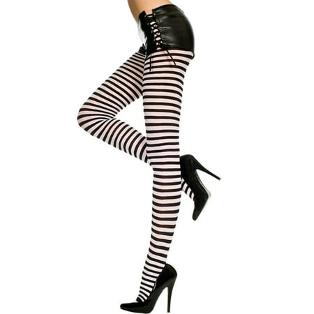 Plus Size Opaque Striped Tights, Plus Size - Elf Tights Striped