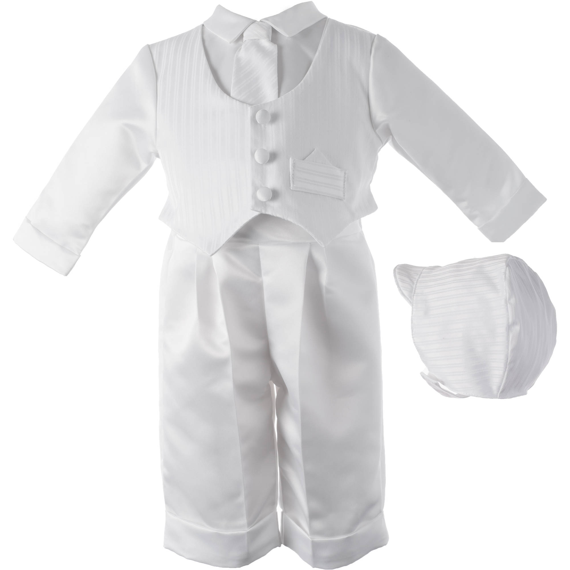 Christening Baptism Newborn Baby Boy Special Occasion Three Pc Satin Long Pant Outfit w/ Striped Vest Comes w/ Matching Hat