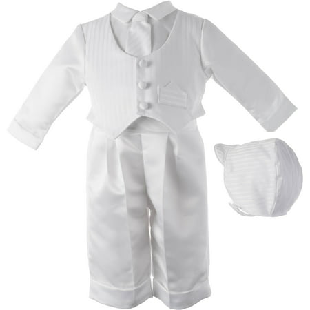 Christening Baptism Newborn Baby Boy Special Occasion Three Pc Satin Long Pant Outfit w/ Striped Vest Comes w/ Matching Hat for $<!---->