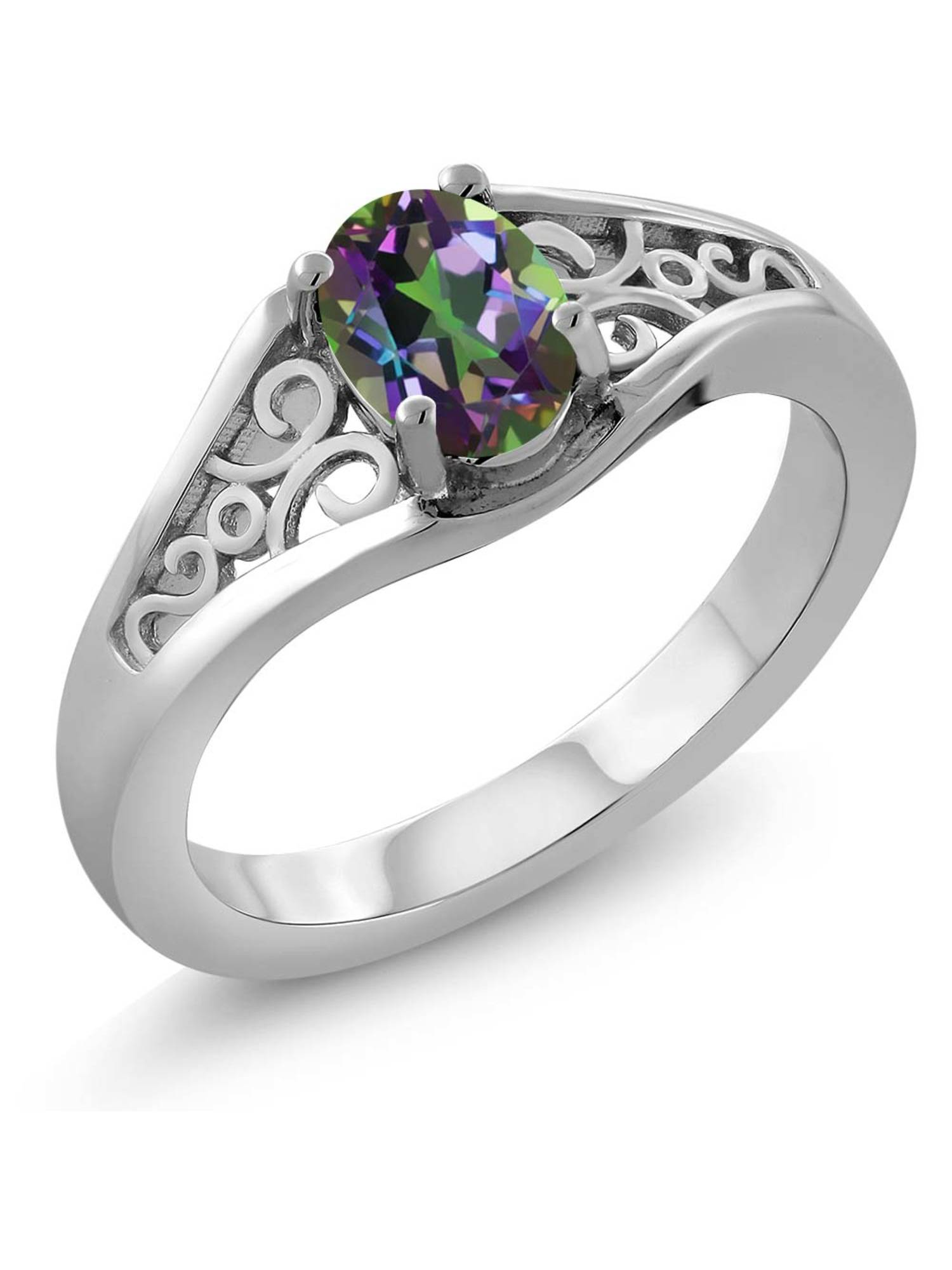 925 Sterling Silver 7x5mm Oval 0.80 Ct Green Mystic Topaz Women's Ring