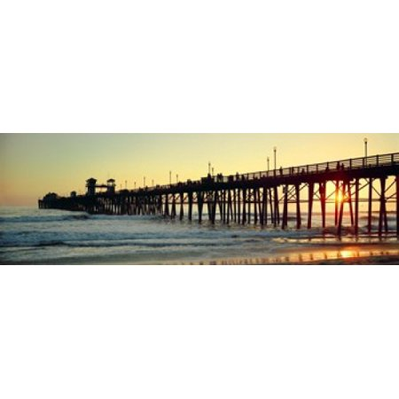 Pier in the ocean at sunset Oceanside San Diego County California USA Poster Print (8 x 10) ()