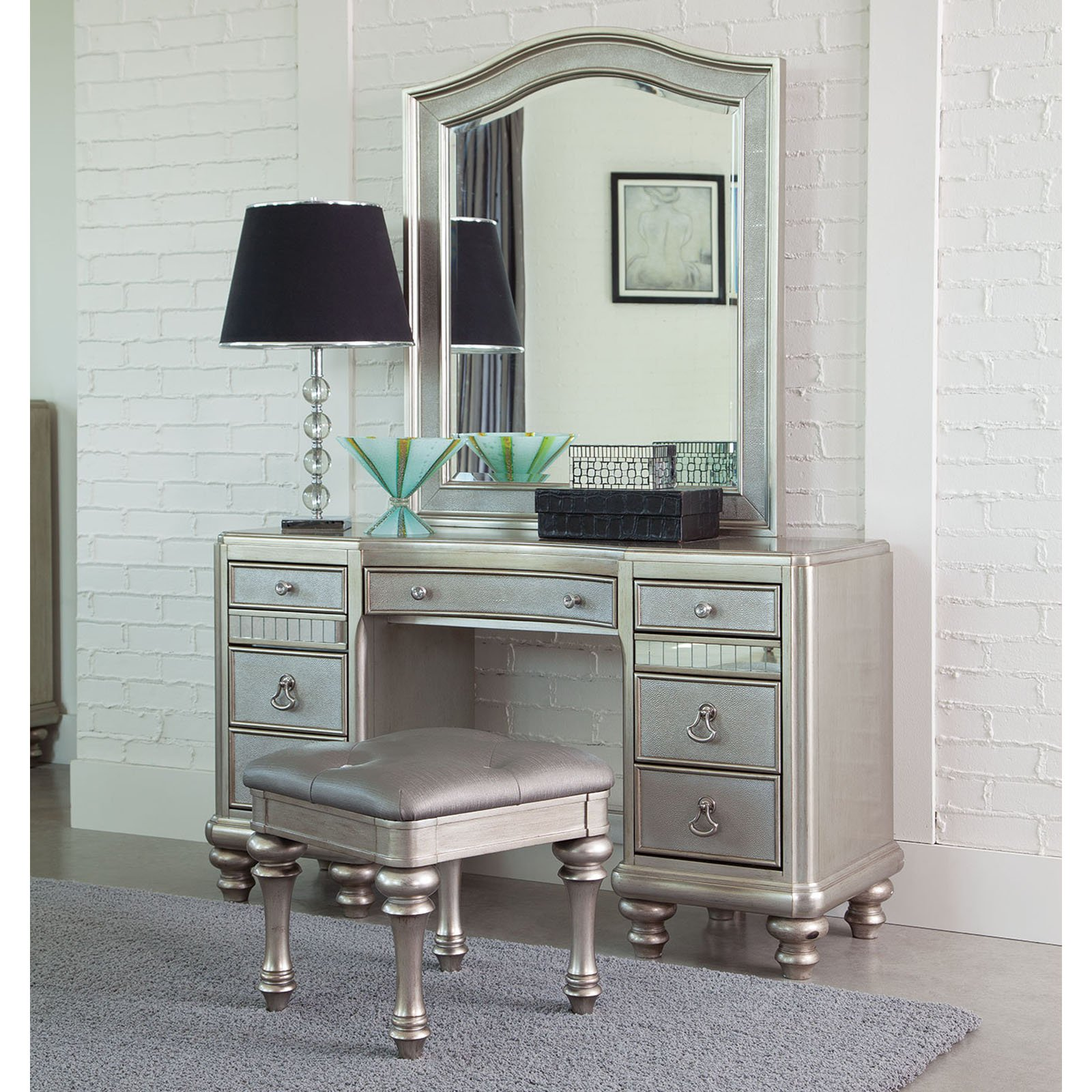 desk and vanity combo. Coaster Company Bling Game Vanity Desk  Metallic Platinum Bedroom Vanities Walmart com