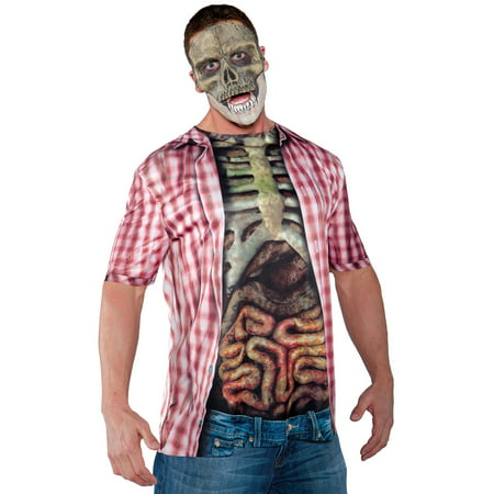 Red Photo-Real Skeleton Shirt Adult Halloween Costume - 6 Person Halloween Costumes