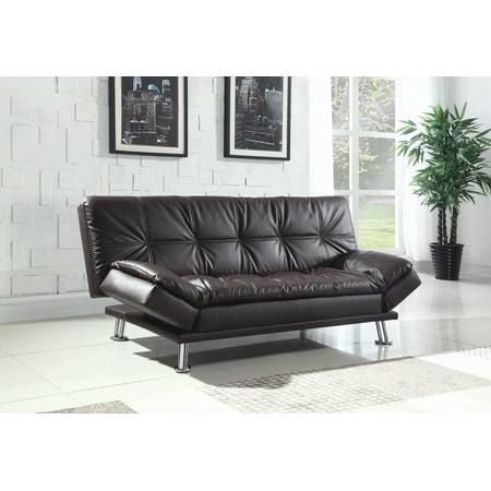 Dilleston Tufted Back Upholstered Sofa Bed Brown