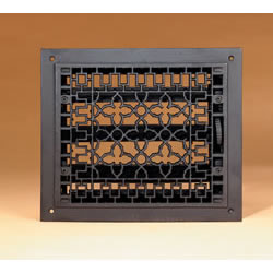 """12"""" X 14"""" Cast-Iron Louvered Register, Black, Fits 10"""" X 12"""" Opening"""
