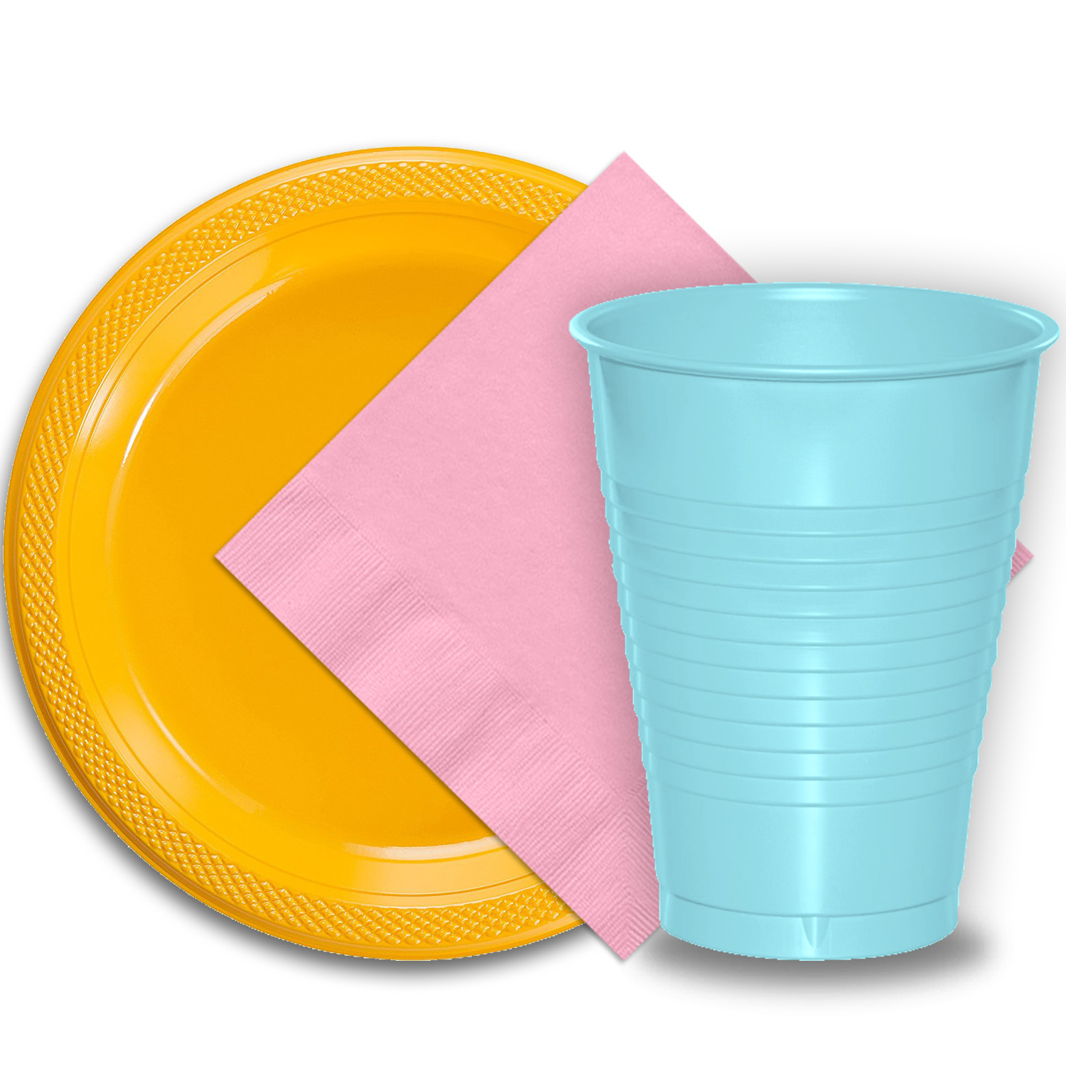 "50 Yellow Plastic Plates (9""), 50 Light Blue Plastic Cups (12 oz.), and 50 Pink Paper Napkins, Dazzelling Colored Disposable Party Supplies Tableware Set for Fifty Guests."