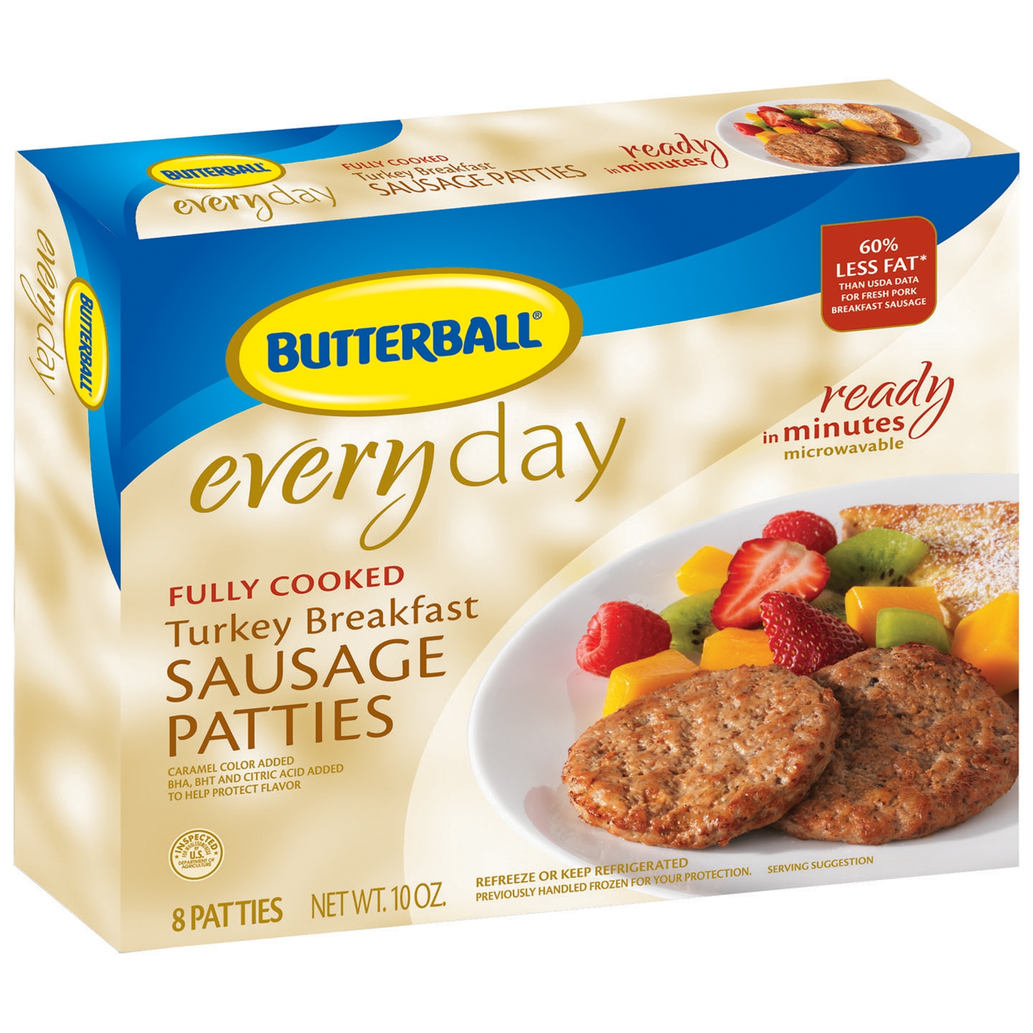 Butterball Fully Cooked Turkey Breakfast 10 Oz Sausage Patties 8 Ct Box