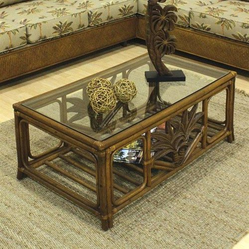 Hospitality Rattan 401-1365-TCA-CT Cancun Palm Wicker Coffee Table