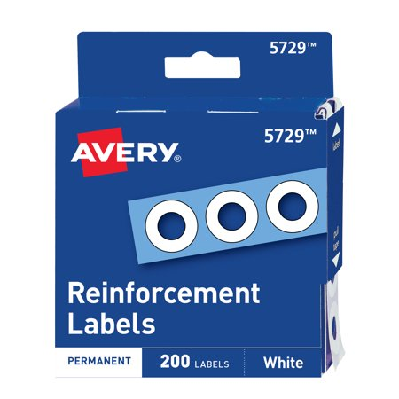 Avery Hole Reinforcements, White, 200 Labels -