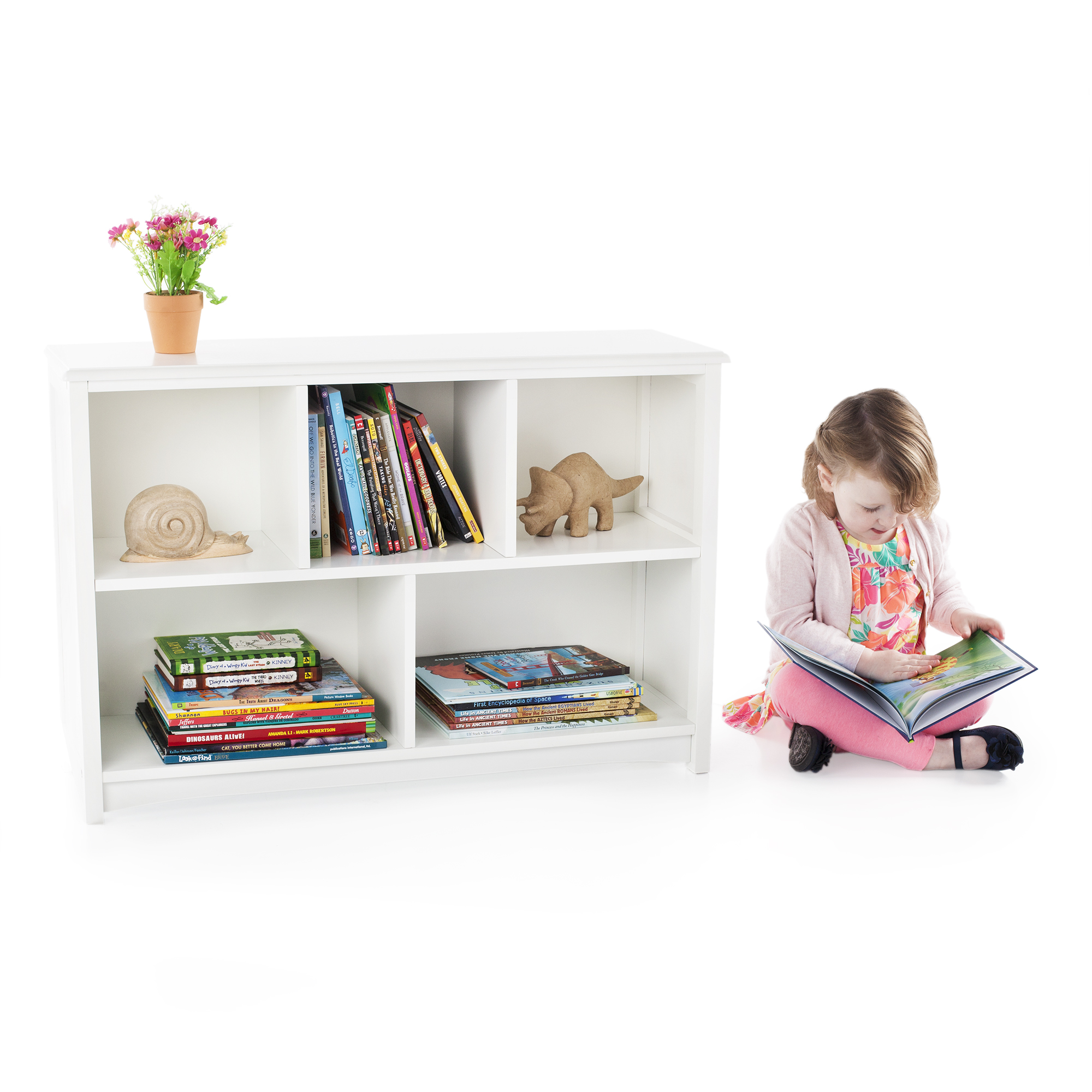 Guidecraft Classic Kids Bookshelf, 2-Tier, Multiple Colors