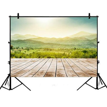 GCKG 7x5ft Mountain Wood Floor Scenery Polyester Photography Backdrop Studio Prop Photo Background - image 1 de 4