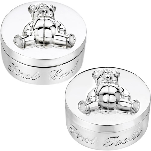 Personalized Gloria Duchin Silvertone First Tooth and Curl Trinket Boxes, Set of 2
