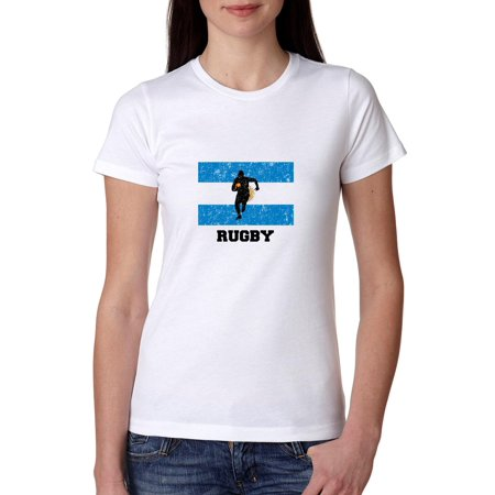 Ladies Home Rugby Shirt (Argentina Olympic - Rugby - Flag - Silhouette Women's Cotton T-Shirt )