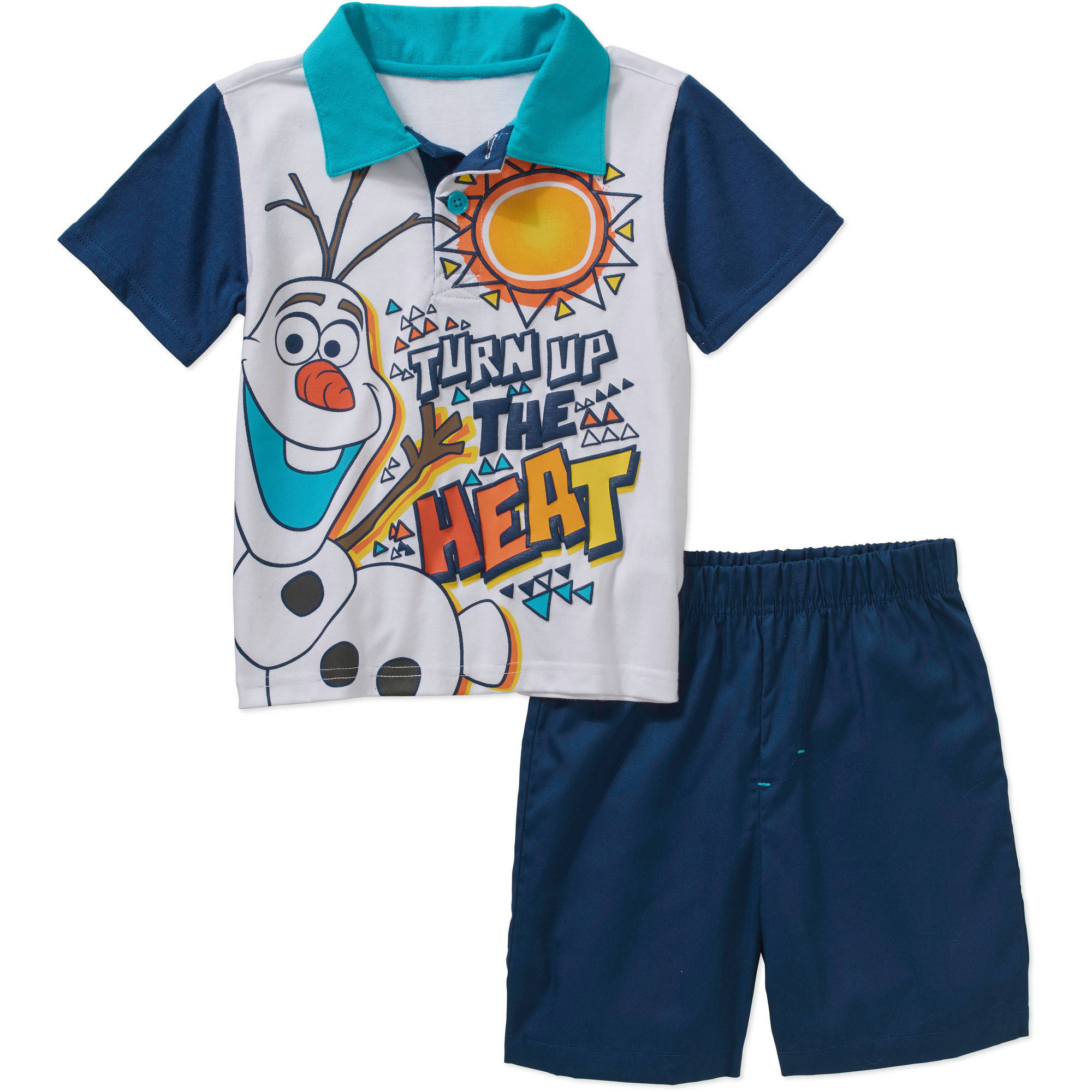Disney Frozen Olaf the Snowman Toddler Boys Polo Shirt and Shorts