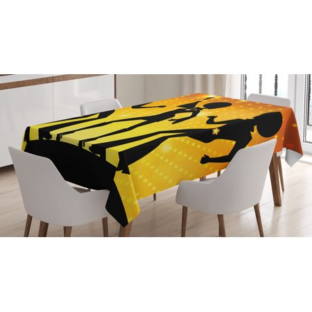 70s Party Decorations Tablecloth, Dancing People Disco Night Club Afro Hairs Gold Colored Bokeh, Rectangular Table Cover for Dining Room Kitchen, 52 X 70 Inches, Black Gold Yellow, by (70's Hair)