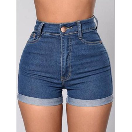 Womens Denim Mini High Waist Slim Solid Shorts