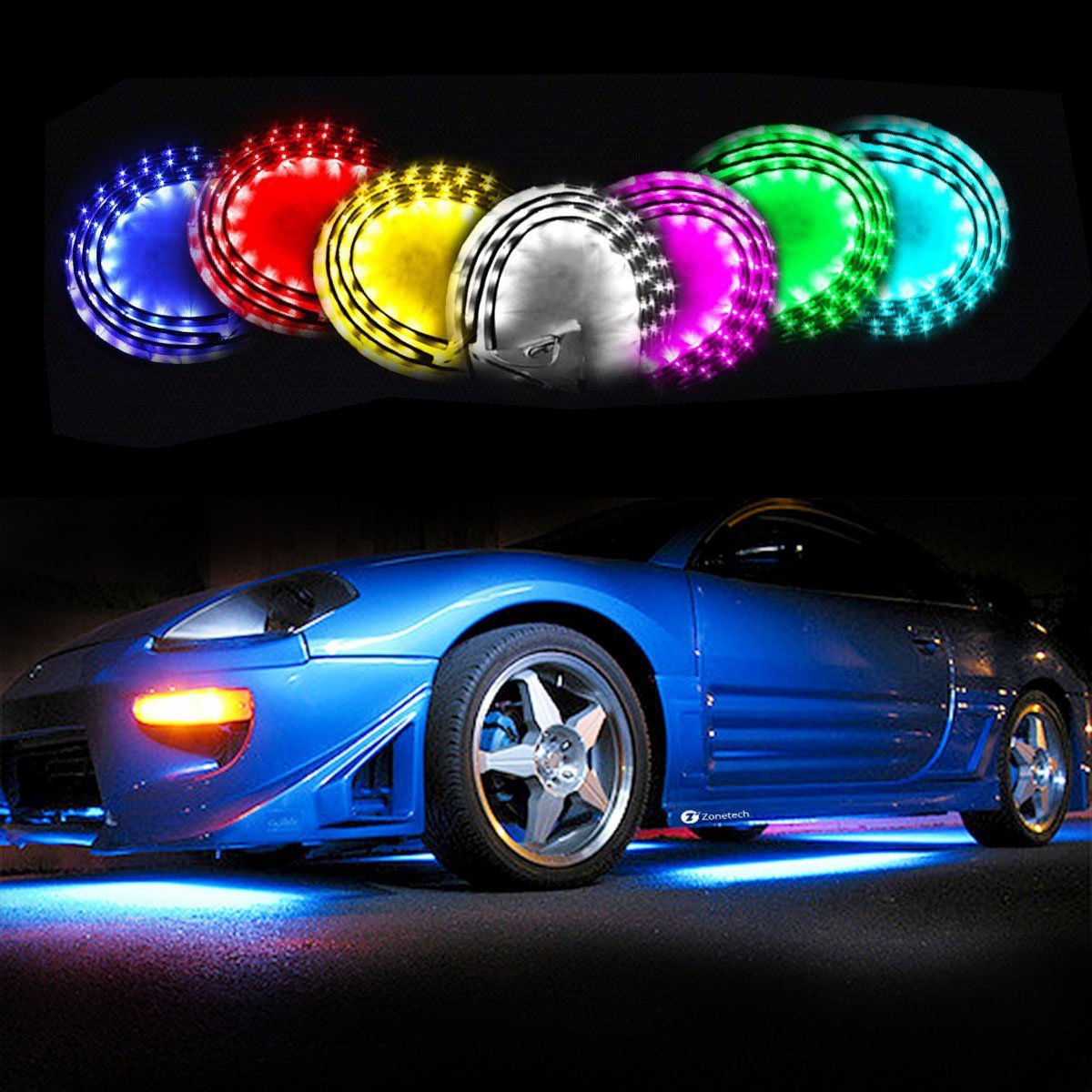 Zone Tech 7-Color LED Underbody Car Glow System -  Neon Lights Kit with Sound Active Function and Wireless Remote Controller
