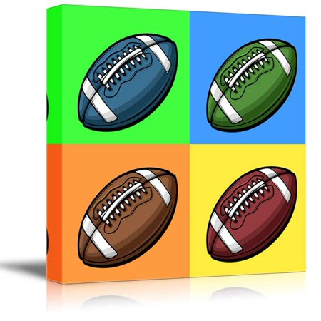 wall26 Canvas Wall Art - Multi-Color Pop Art with Football - Giclee Print Gallery Wrap Modern Home Decor Ready to Hang - 12