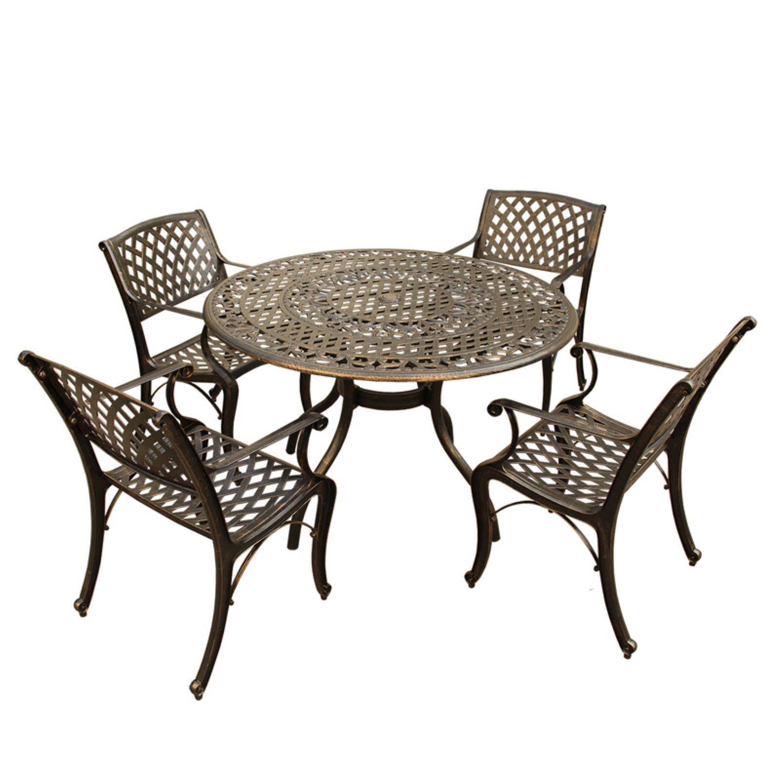 Oakland Living Modern Mesh Lattice Aluminum 5 Piece Patio Dining Set