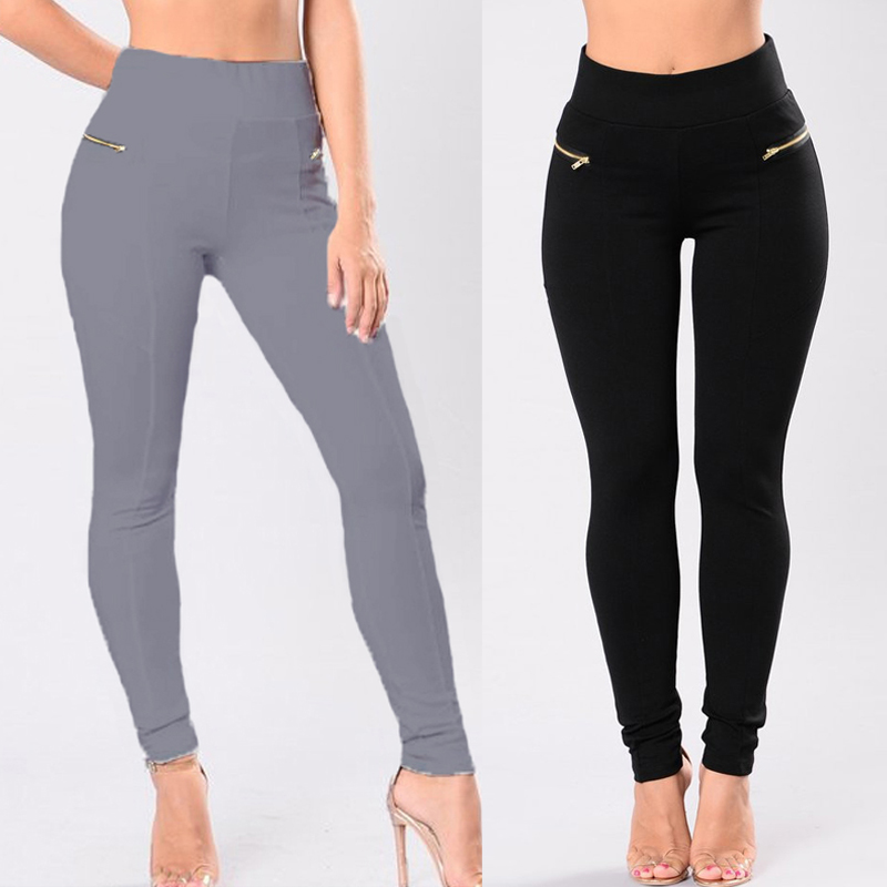 ZANZEA Women Slim Fitness Elastic High Waist Long Pants Pencil Trouser