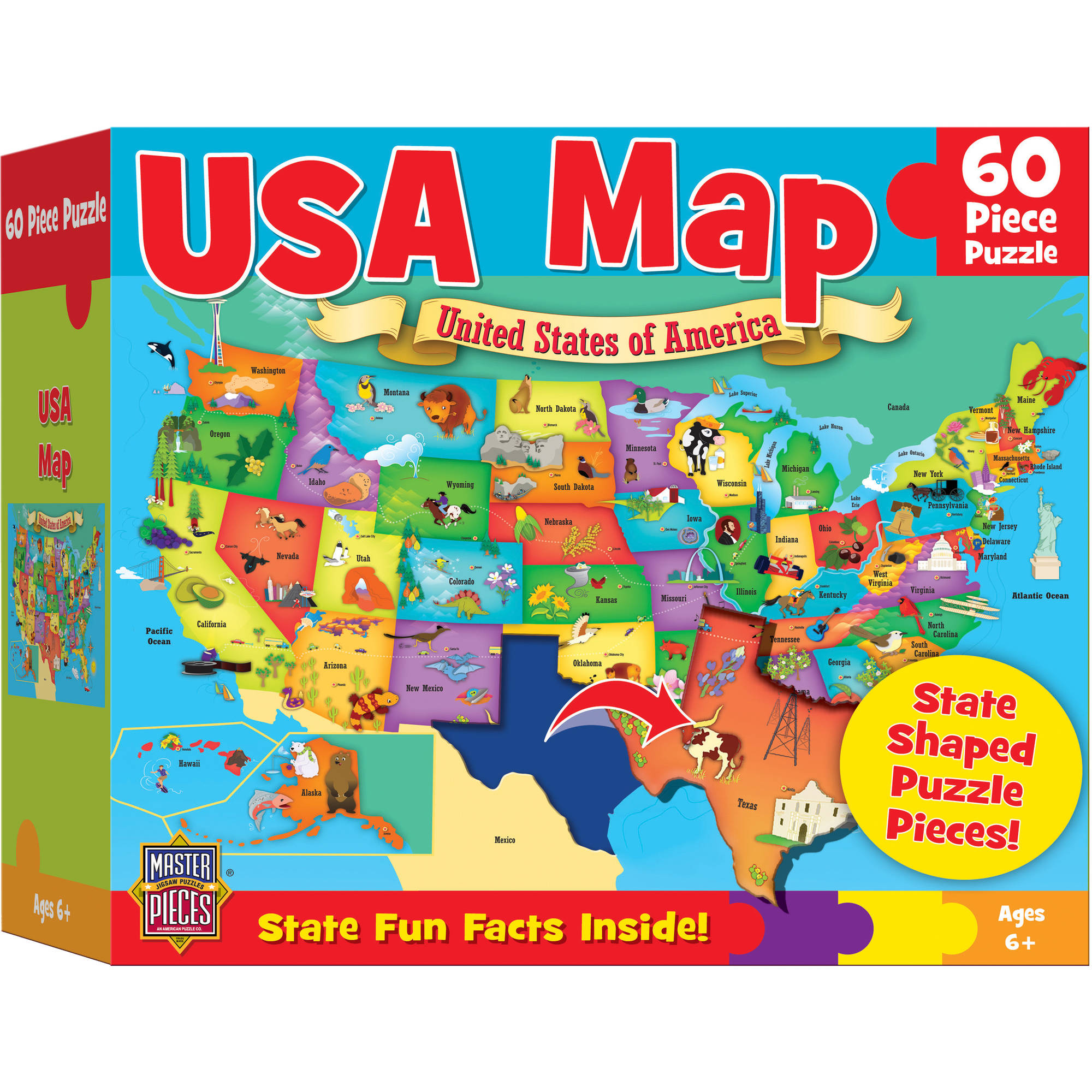 MasterPieces USA Map Puzzle, 60 Pieces